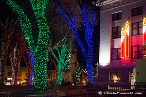 Yavapai County Courthouse Christmas Lights in Prescott, AZ.