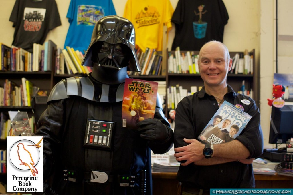 GREAT time celebrating Free Comic Book Day with Ty Fitzmorris and Darth Vader at The Peregrine Book Company today! ‪#‎FCBD‬ ‪#‎DoctorWho‬