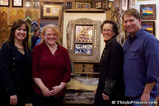 Jenn Winters-Ashcraft, Ida Kendall, Francine Hackerott, Tom Ashcraft - with prize-winning memorial frame.