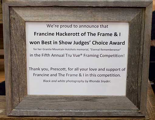 Francine Hackerott, of The Frame And I, wins 5th Annual Tru Vue Framing Competion