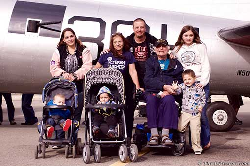 WWII Veteran brings 4 generations with him to tour the B-17 Bomber, Aluminum Overcast in Prescott, AZ.