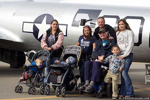 WWII Veteran with 4 generations of his family touring the Aluminum Overcast B-17 Bomber in Prescott, AZ.