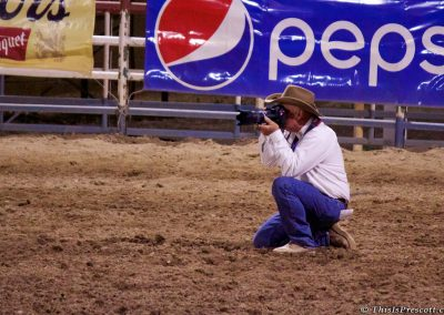 Cowbody photographer at 130th Annual World's Oldest Rodeo® in Prescott, Arizona on July 3, 2017.
