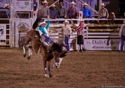 Bronc riding at 130th Annual World's Oldest Rodeo in Prescott, Arizona on July 3, 2017.