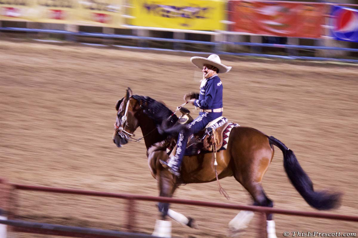 Tomas, vaquero doing rope tricks at 130th Annual World's Oldest Rodeo® in Prescott, Arizona on July 3, 2017.