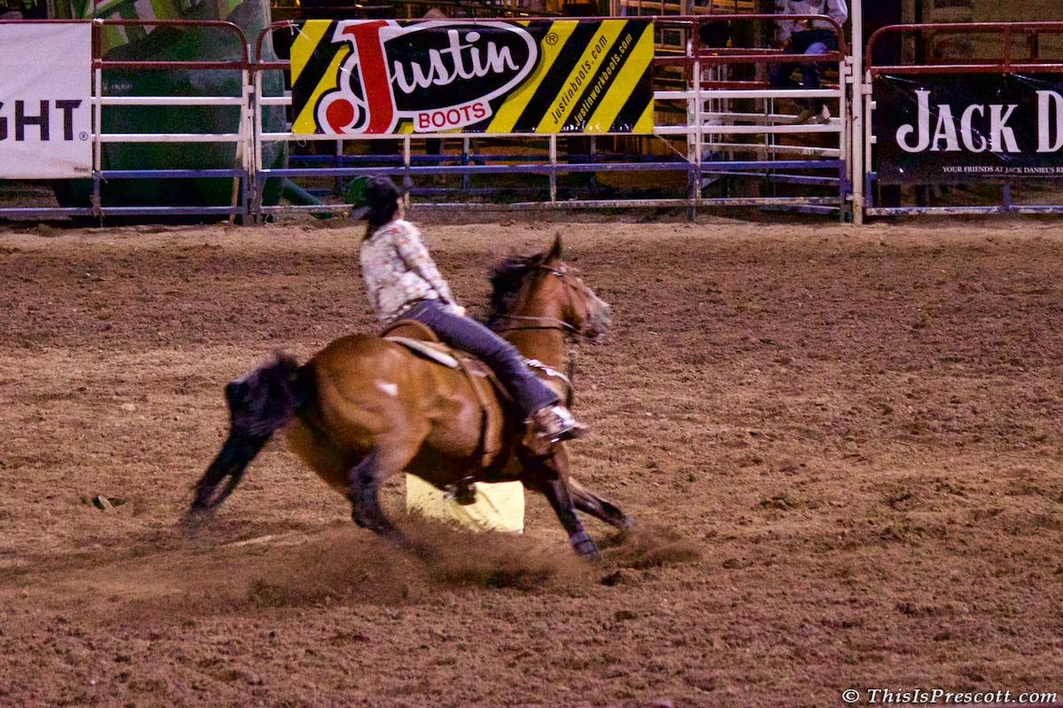 Barrel racing at 130th Annual World's Oldest Rodeo® in Prescott, Arizona on July 3, 2017.