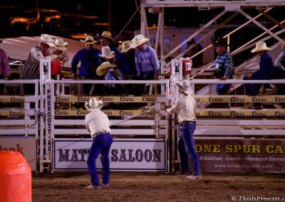 Chute about to open for bull riding at 130th Annual World's Oldest Rodeo® in Prescott, Arizona on July 3, 2017.